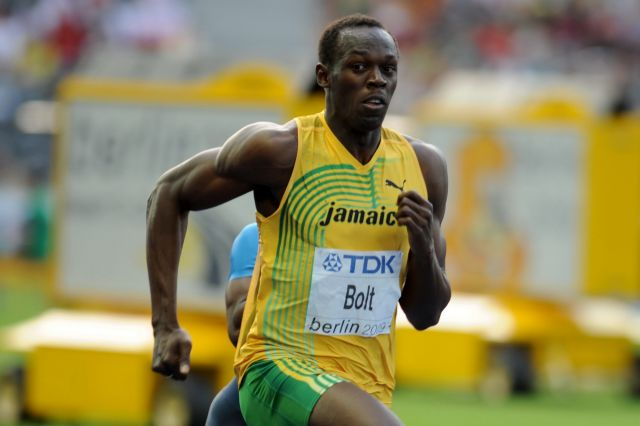 Usain Bolt pushes his body to its limits sprinting, image by Selligpau for Wikimedia